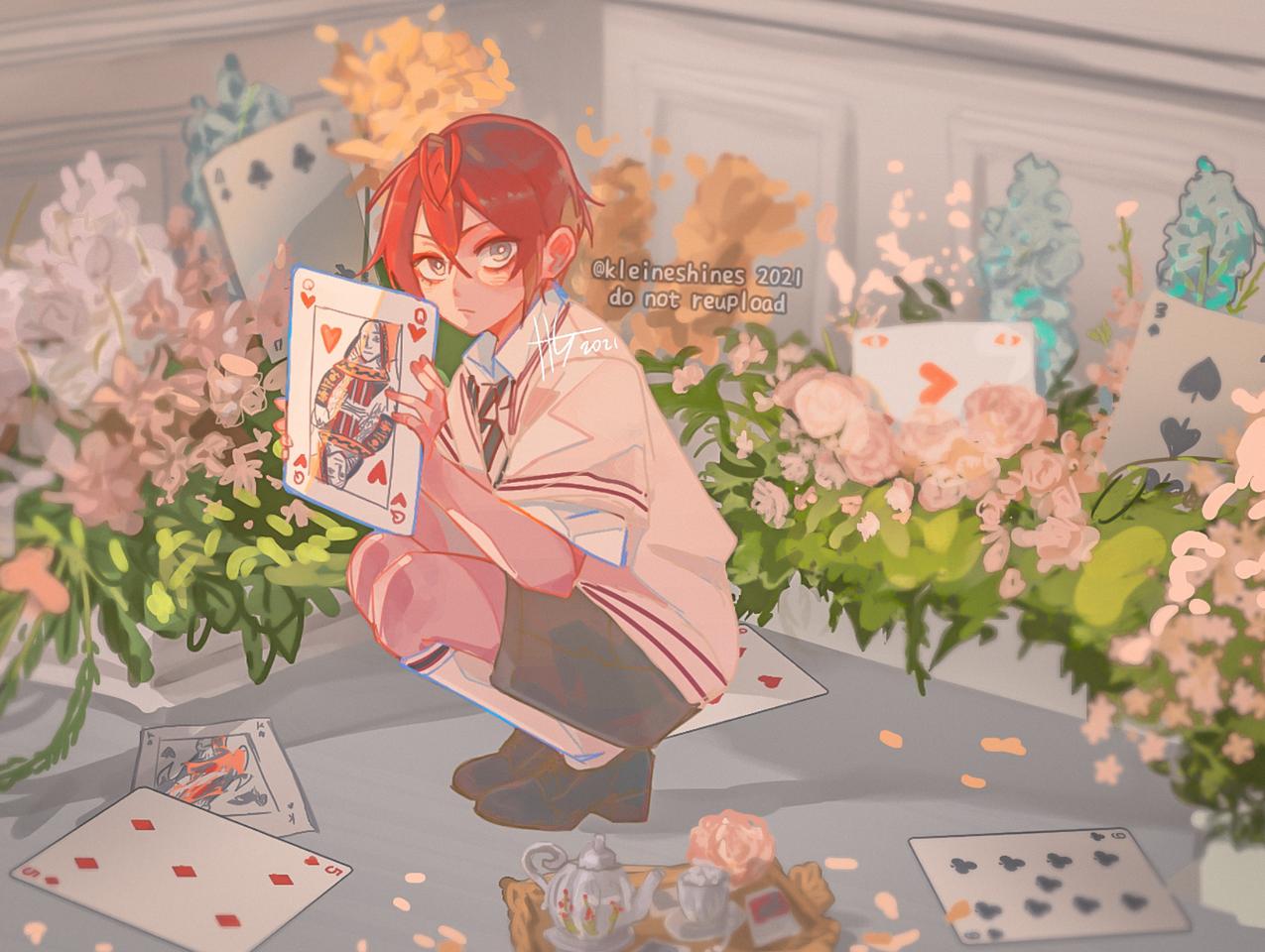 リドル Illust of Kleineshines April2021_Flower medibangpaint Twisted-Wonderland illustration ツイステイラスト HEARTSLABYUL RiddleRosehearts