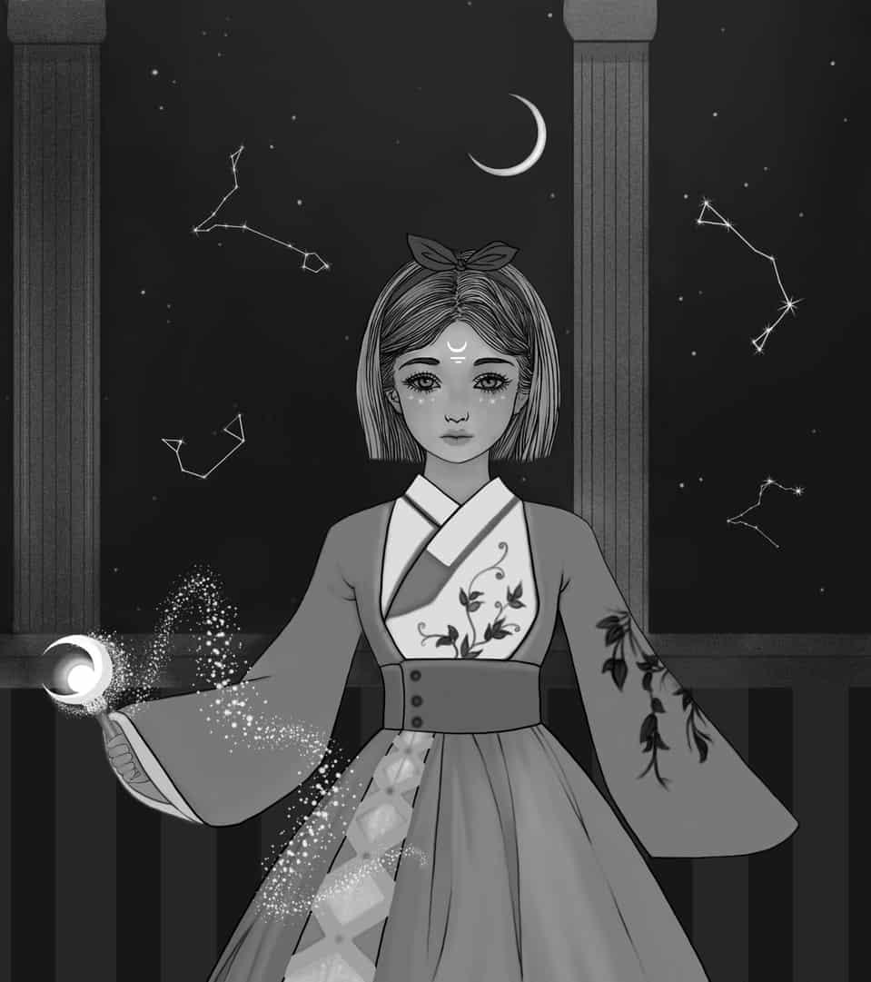 girl of the moon Illust of mahdieh May2021_Monochrome medibangpaint painting characterdesign monochrome medibang character MyArt Artwork blackandwhite
