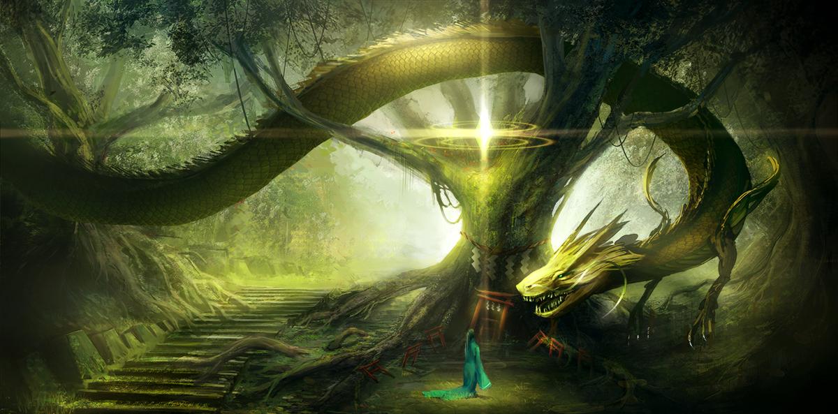 龍 Illust of bowl / ぼおる original forest background 龍 scenery