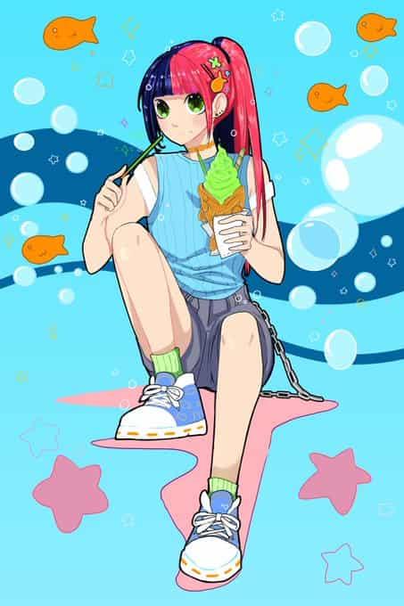 Summer Taiyaki Illust of Nass summer girl taiyaki medibangpaint pink blue oc cute