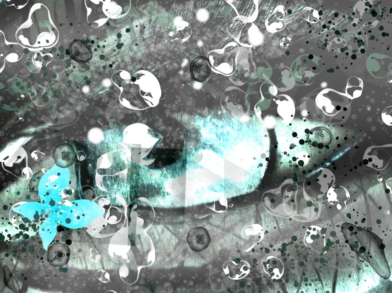 Deep infinity Illust of Grandicelli Susanna May2021_Monochrome ponytail aerografo digitale arte pittura
