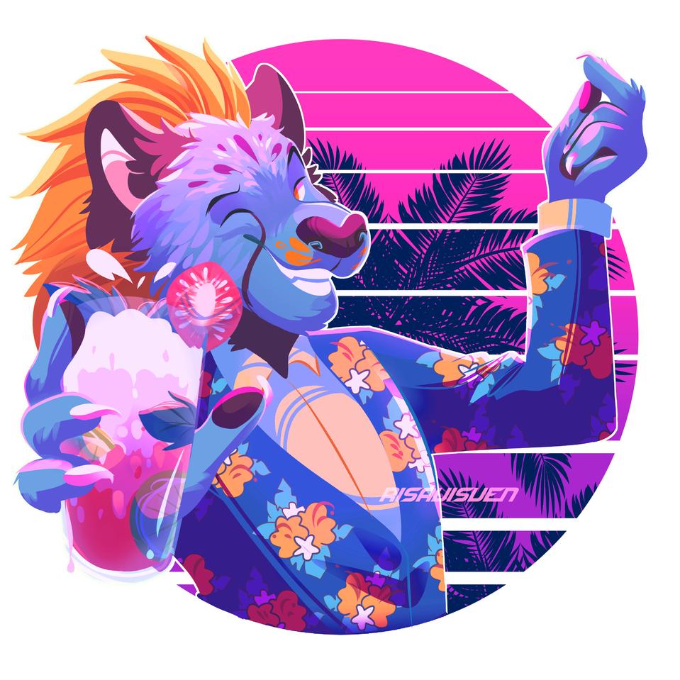 Cheemtah  (supposed to be PNG transparent) Illust of risavisven medibangpaint digital tropical cat neon anthro furry cheetah retro lineless design
