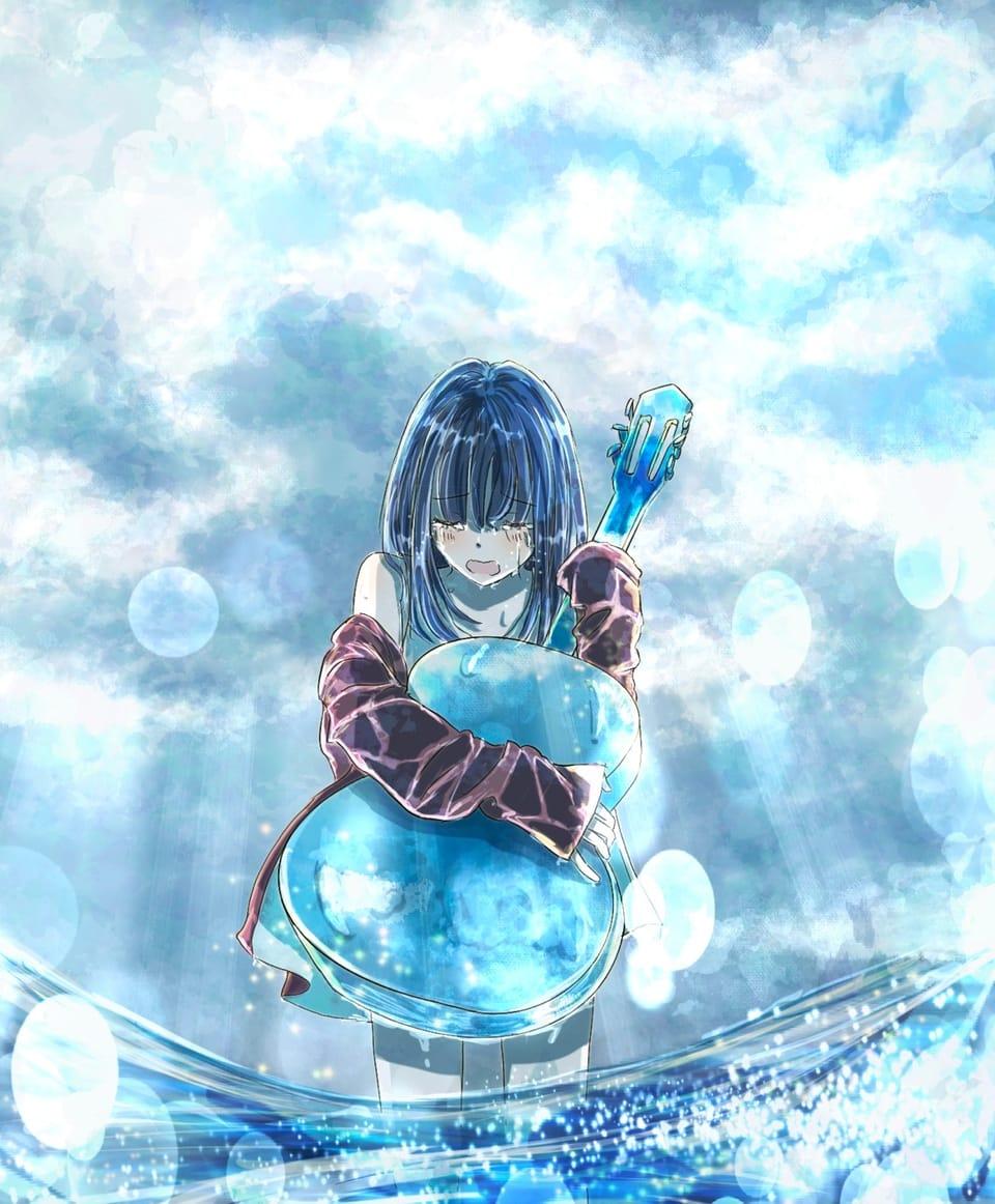 雨のち晴れ Illust of 熊谷のの blue ギター scenery background original girl sea 泣き顔