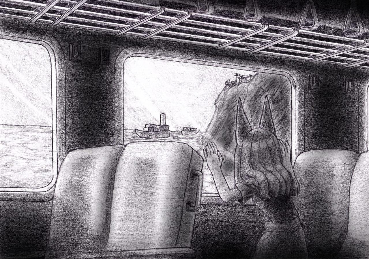 旅に出る~ ヾ(ᗒ▽ᗕ*)o Illust of 狐尾猫@キツネコ May2021_Monochrome background 小狐 girl train sea よその子 獣耳 scenery 獣耳娘