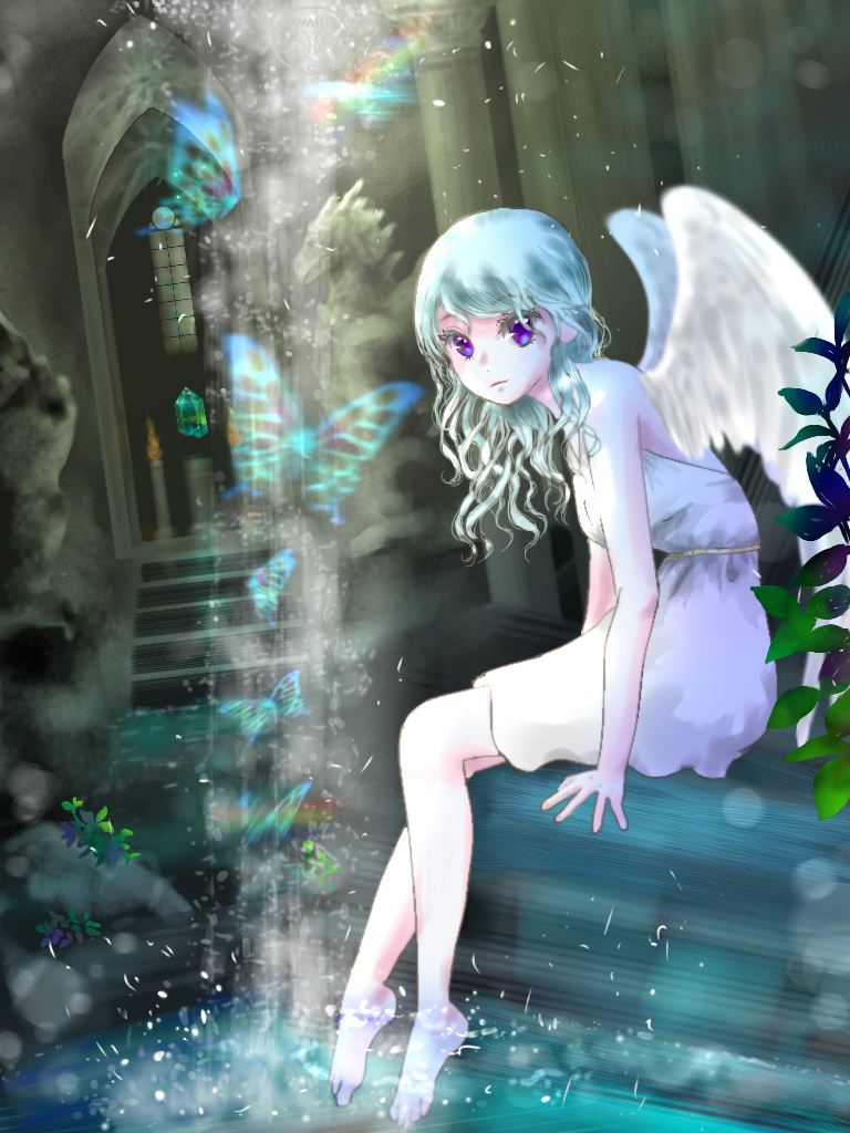 Lost Temple Illust of スローロリス1号 wings girl 泉 滝 遺跡 神殿 白い 蝶々