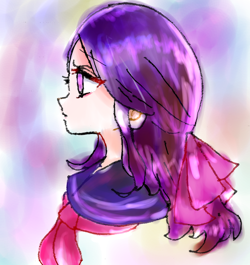 女の子 Illust of ねむこ@しばらくやすみ コメントはします おんなのこ girl ribbon 過去絵 kawaii doodle sailor_uniform purple