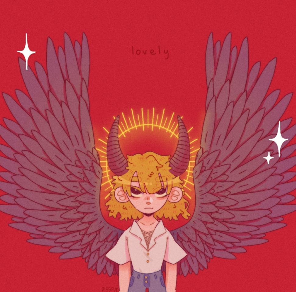 lovely Illust of pisspun cute aesthetic demon medibangpaint girl kawaii horns pretty red wings