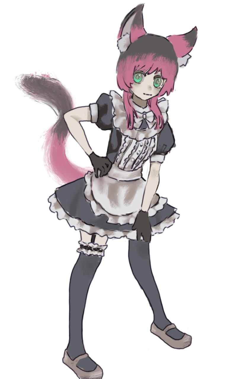 Illust of w cat_ears maid 過程 original girl メイキング