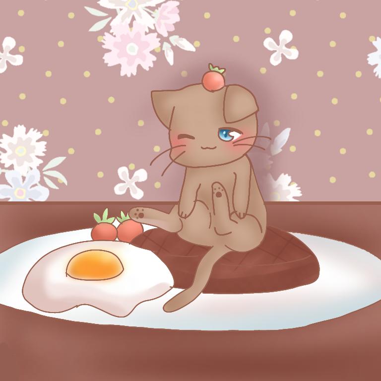 ハンニャーグはいかが? Illust of ナチュネコ#お味噌汁崇拝 ハンバーグ cat めだまやき トマト