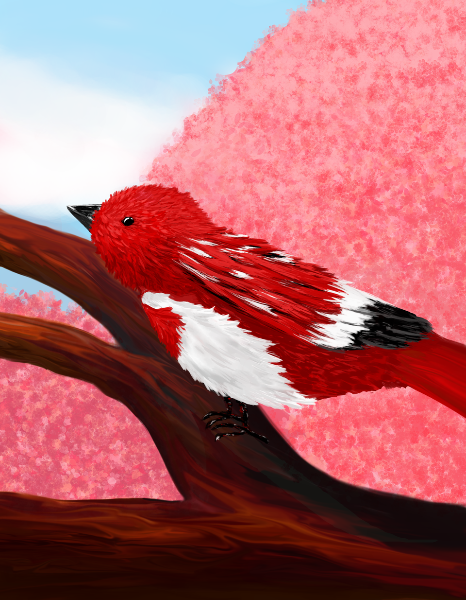 Ave roja en primavera Illust of Cirica April.2020Contest:Color