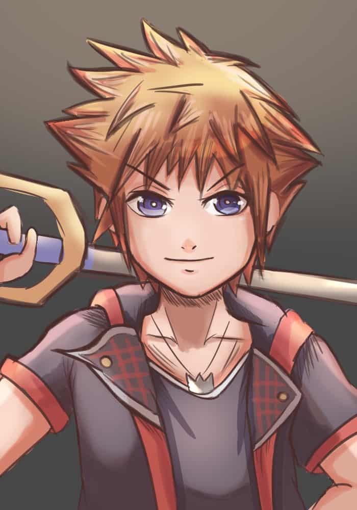 Sora Illust of Pempem fantasy game Sora pastel black red anime eyes portrait KingdomHearts