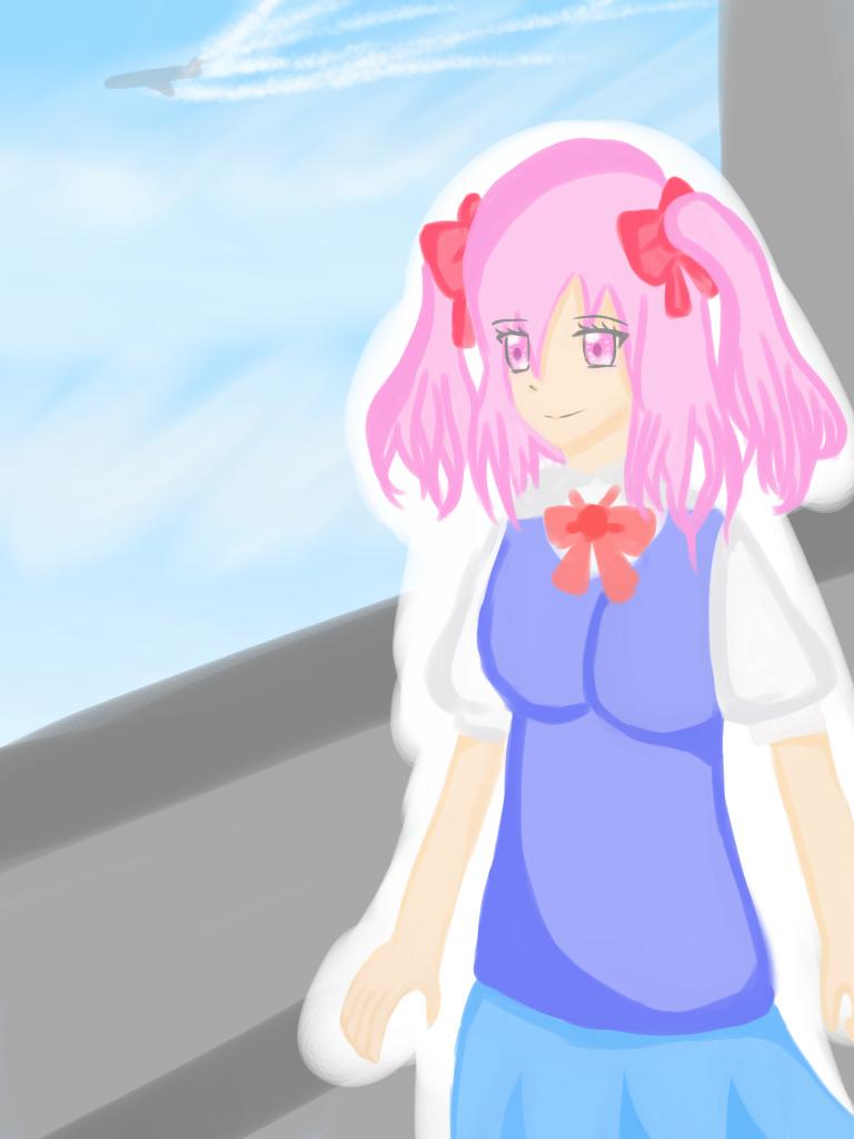 校園裏的少女 Illust of 神祕的星彩star background girl 訓練背景 自創角色 cute 訓練陰影 schooluniform