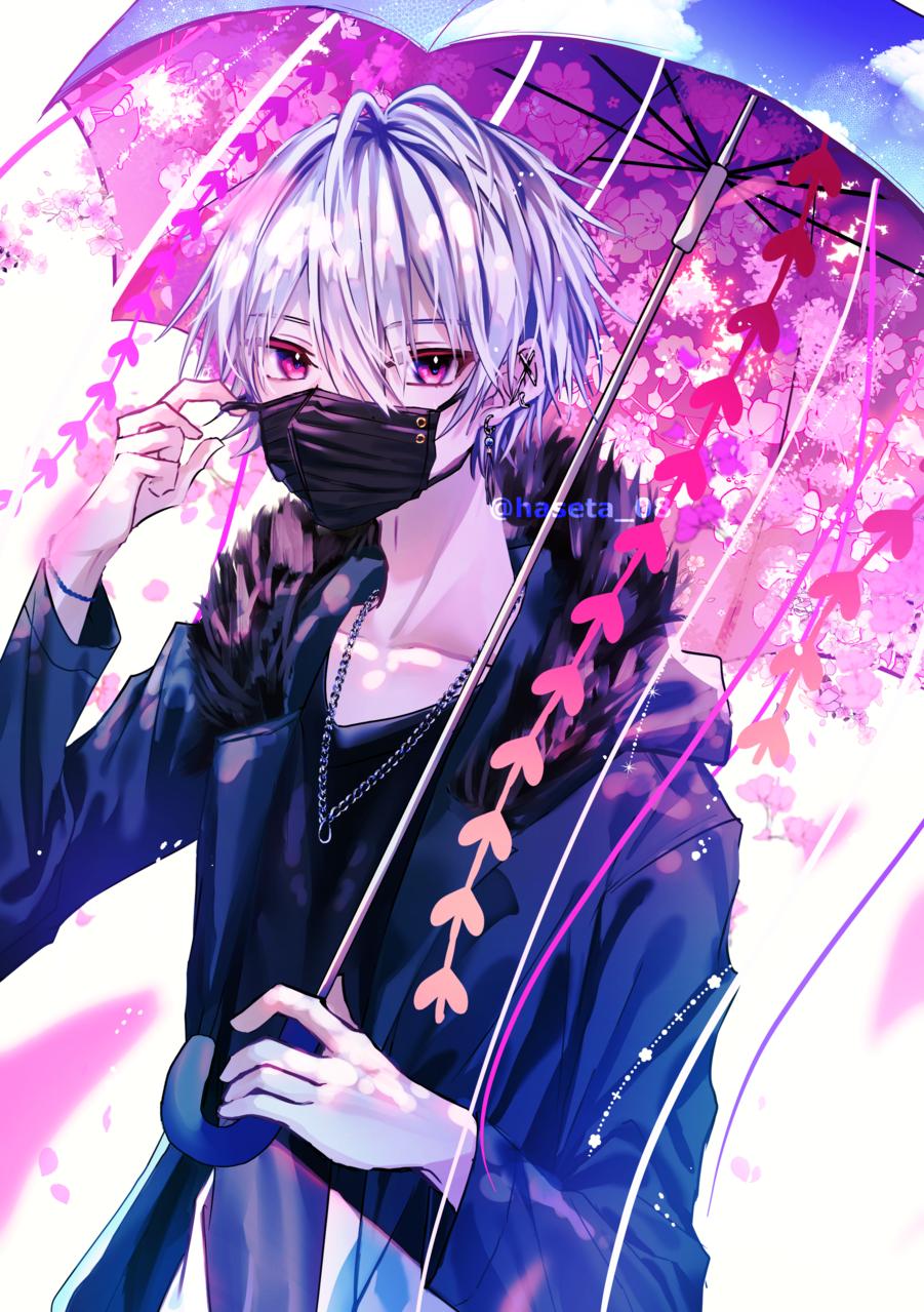 春嵐 Illust of 八瀬 illustration sakura umbrella oc original 春 white_hair boy