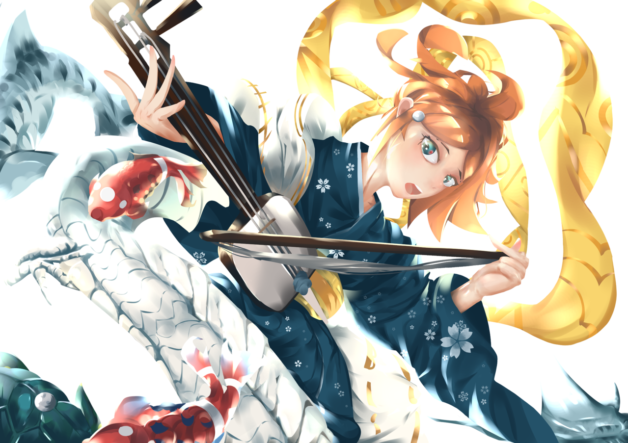 Summoner Illust of Shokkunn Kyoto_Award2020_illustration girl painting fish dragon kimono anime