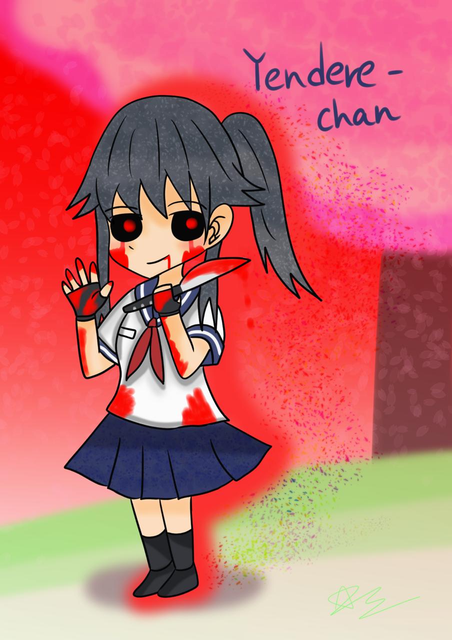 Yandere-Chan (Evil & horror) Illust of 神祕的星彩star horror YandereSimulatorFanArtContest Evil girl 訓練陰影 RedSky 訓練人物 訓練背景