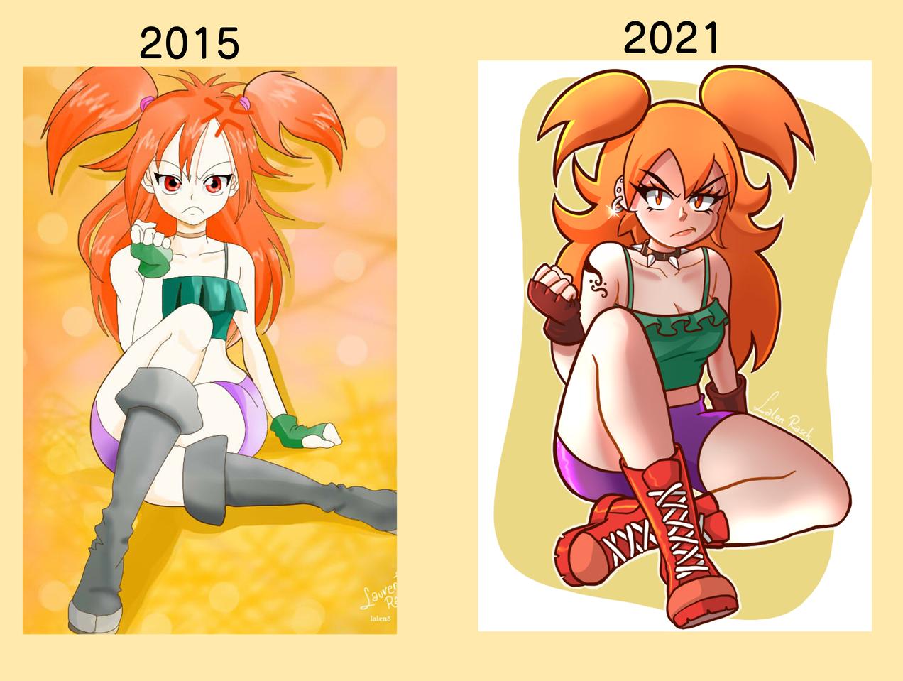 2015 vs 2016 Illust of LalenRasch Cristo es rey! digital girl drawthisagainchallen animestyle animegirl illustration DrawThisAgain illustrations
