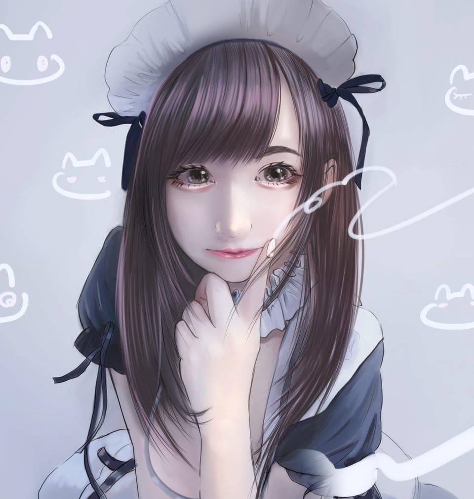 メイドsign Illust of まころん☆ illustration イラスト好きな人と繋がりたい maid eyes kawaii art 似顔絵 head 美少女 oc