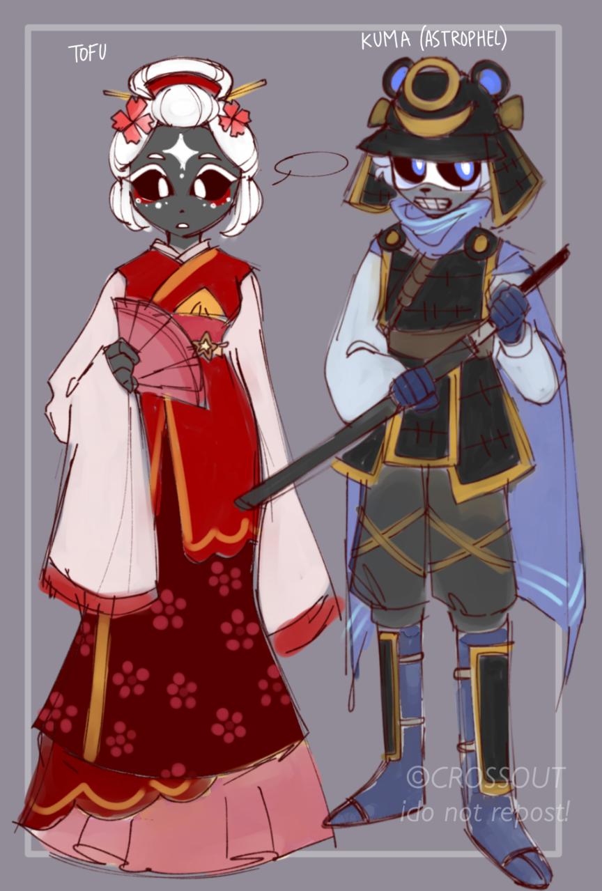 Samurai AU concepts Illust of CrossOut AU drawing oc