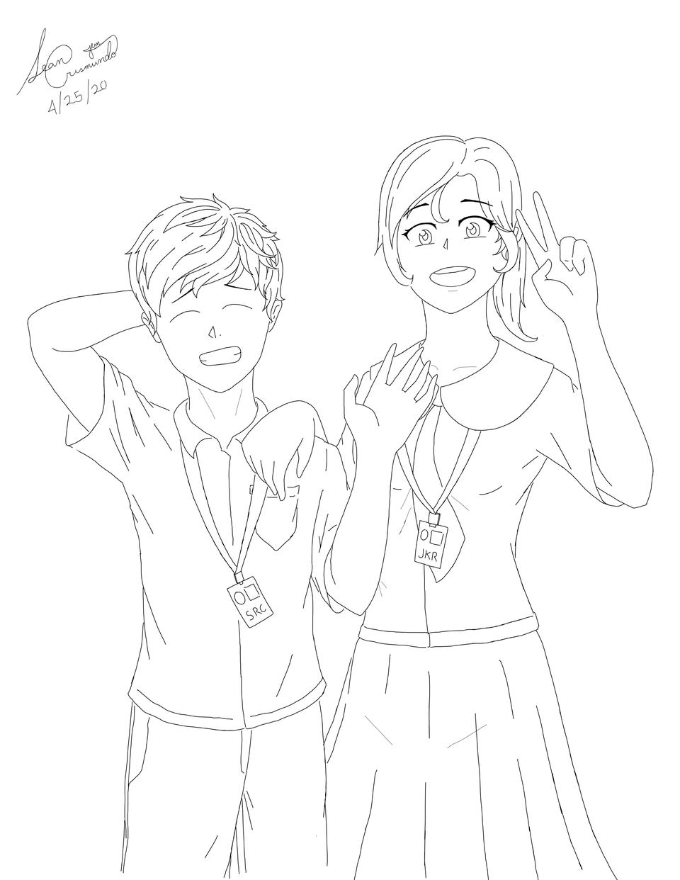 Hight doesn't matter in Love Illust of Potato_Price romance school Original_Illustration_Contest line_art Crush girl love art sketch boy anime