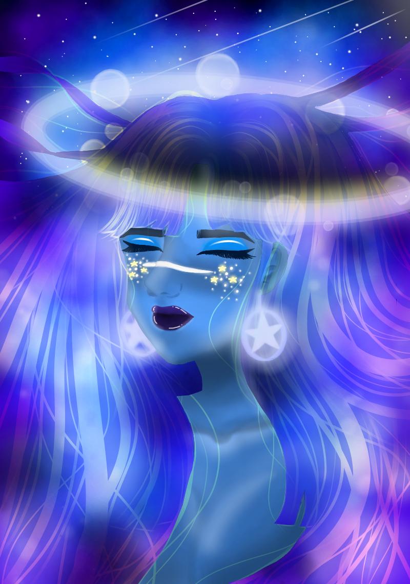 Galaxy💜 Illust of JeeAreAy July2020_Contest:Anniversary galaxy girl iPad_raffle android medibangpaint