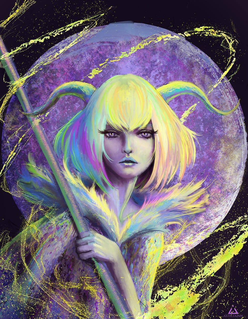 Rainbow Goat Illust of asteltainn oc portrait
