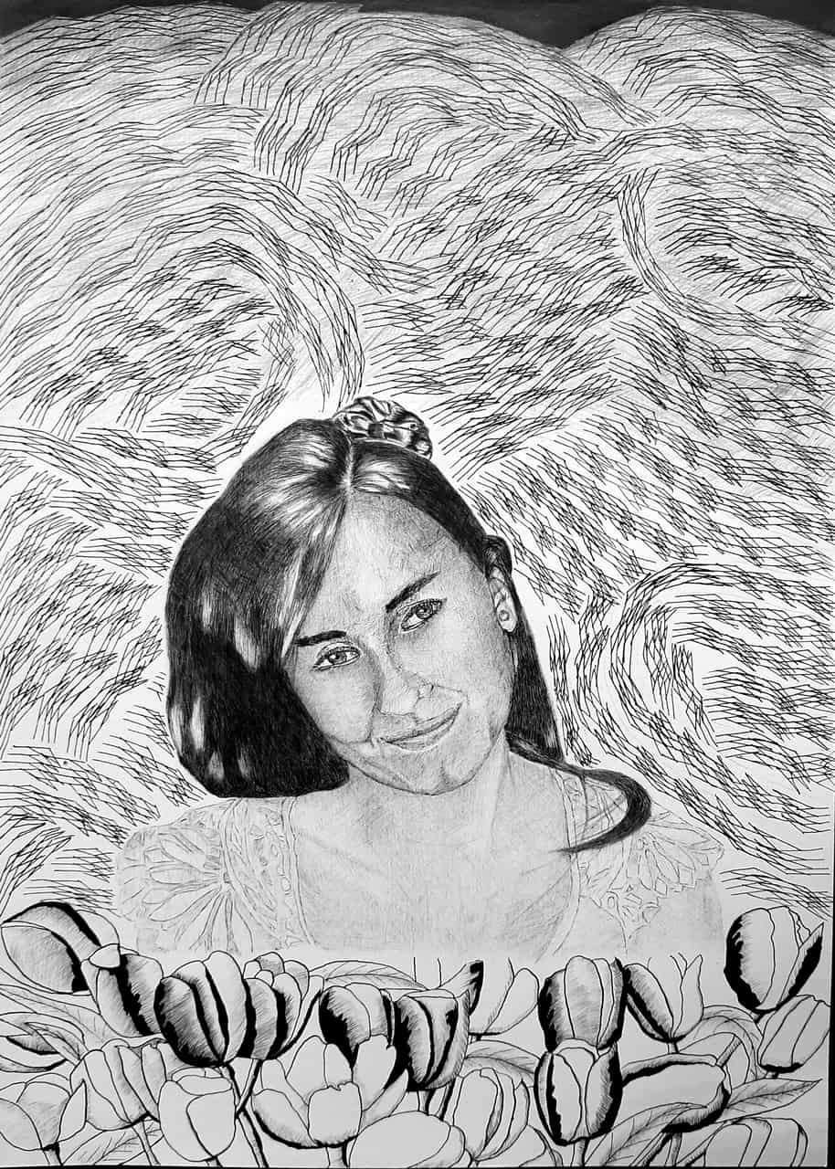 Mi primer retrato Illust of KOI Kyoto_Award2021[illustration] May2021_Monochrome tinta portrait flores blancoynegro Bolígrafo