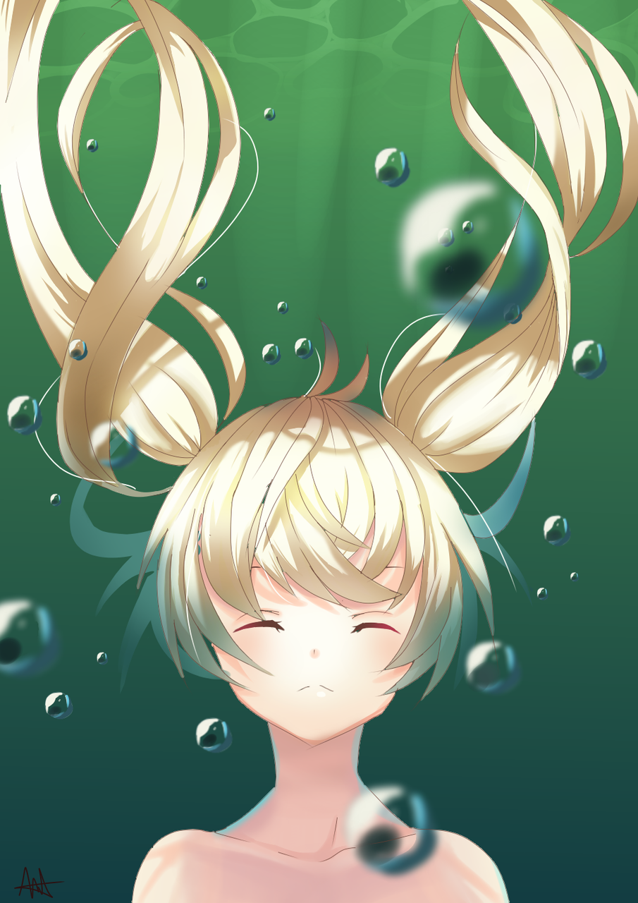 An Overwhelming Feeling Illust of DonutAddic medibangpaint anime twin_ponytails animegirl underwater girl Bubbles green ocean