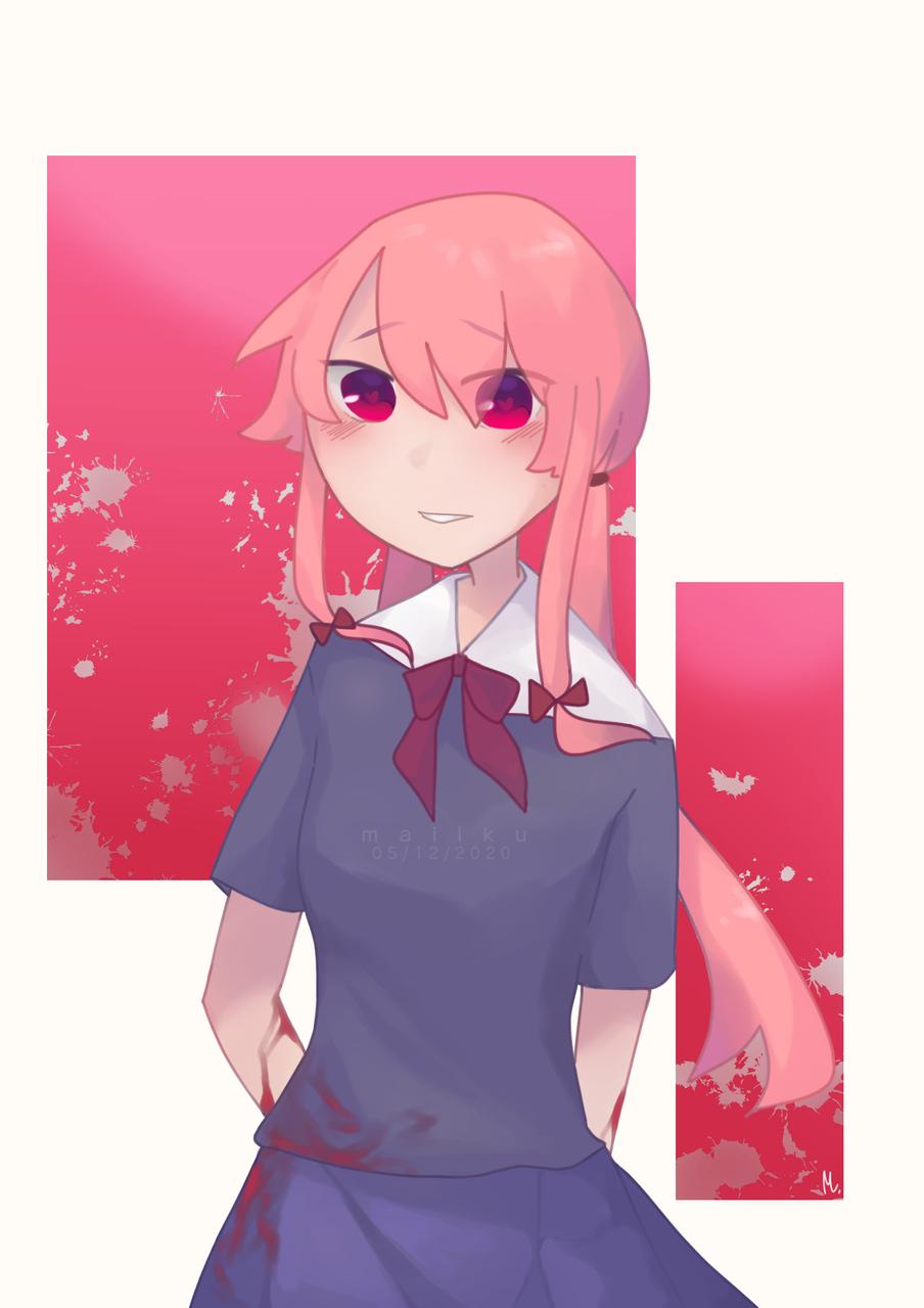 Mirai Nikki • Yuno Gasai   ◇ GORE WARNING ◇  Illust of Maiiku medibangpaint anime Yandere Maiiku MiraiNikki fanart YunoGasai gore