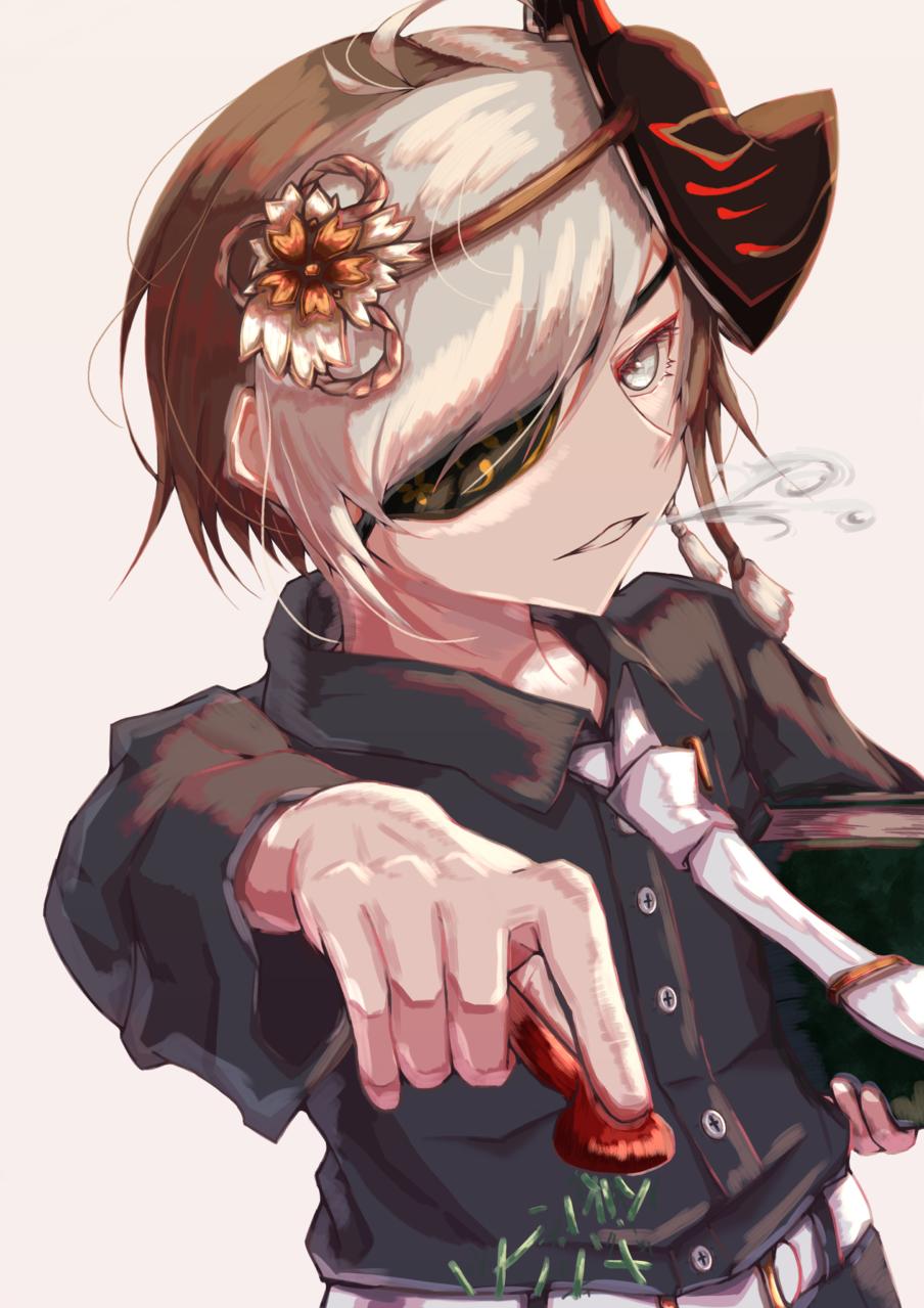 smoke Illust of 6音6妖66首 medibangpaint boy fanfic 狐面 eyepatch