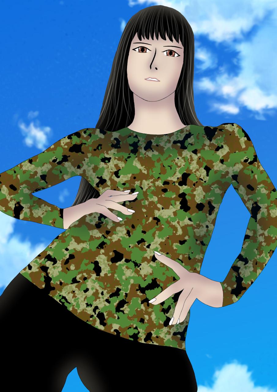 何を休んでる?さっさと立て。 Illust of 綾崎暁登 woman 一次創作 訓練 傭兵 character illustration 無人島 original