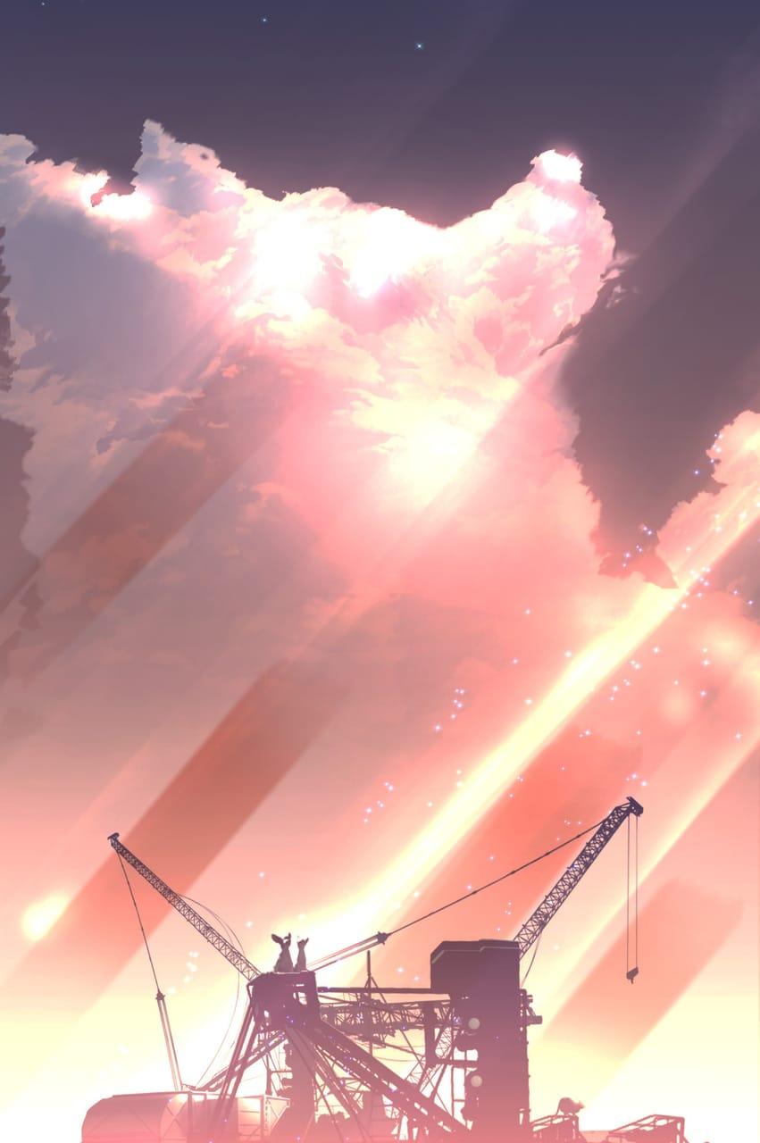 秋の夕暮れに染まる犬 Illust of まころん☆ August2021_Animal ARTstreet_Ranking_Contest sky scenery animal clouds anime illustration dog Artwork background art