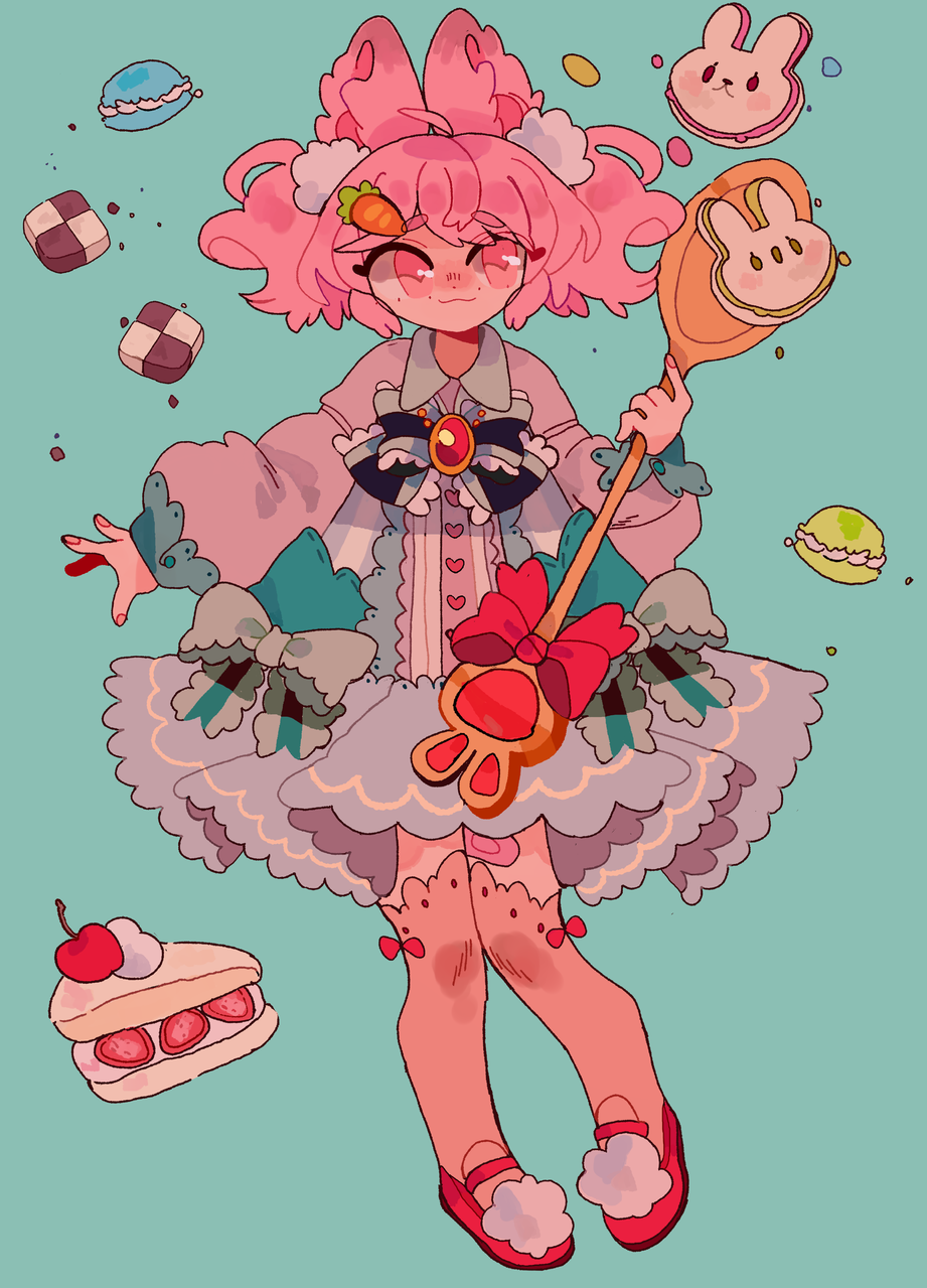 Pufi the sweet candy queen Illust of D3ed_Girl bunny kemonominis fanart cuteoc MyArt pastel kawaii pastry sweets strawberry