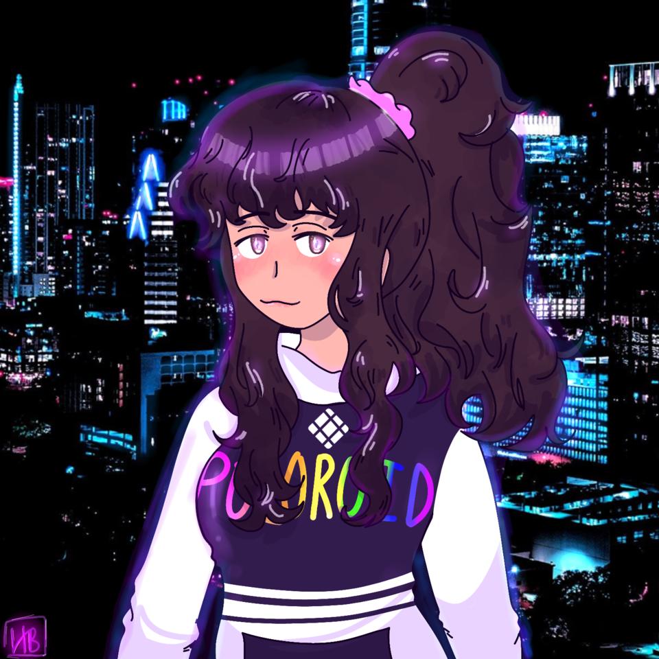 Late Night Vibez 💜✨ Illust of hxneybun medibangpaint girl neon practice night cute persona medibang
