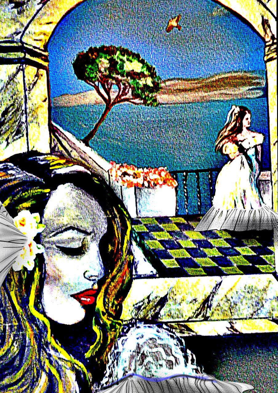 Wait Illust of Grandicelli Susanna May2021_Monochrome ponytail pittura prospettiva digitale acrilico