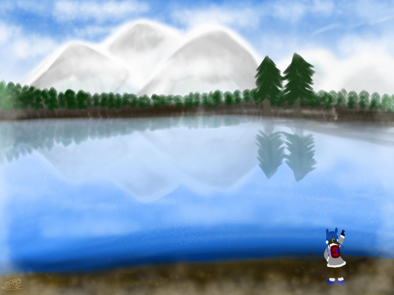 Little travel 小旅行 Illust of 神祕的星彩star sky 訓練人物 旅行 旅行插畫 特效blingbling background girl 訓練背景 旅行者 lake