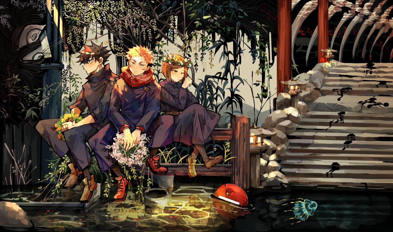 為了向前而平靜 Illust of Dragonla JujutsuKaisenFanartContest Nobara_Kugisaki illustration Yuji_Itadori JujutsuKaisen Megumi_Fushiguro