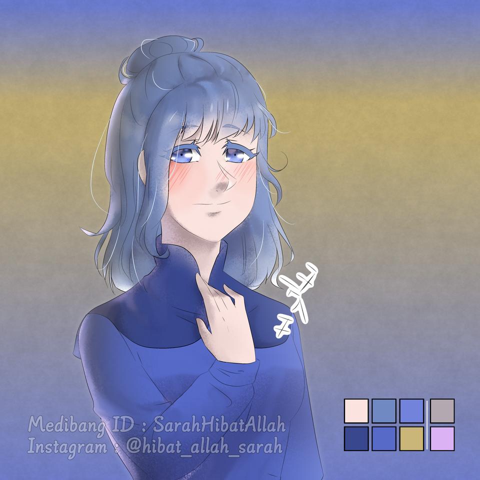 TakamiyaAoi - Gift for ChibiL.Rini - read desc PLZ Illust of Hibat Allah Sarah cute سارة girl فتاة longhair blueeyes fanart blueclothes Sarah bluehair