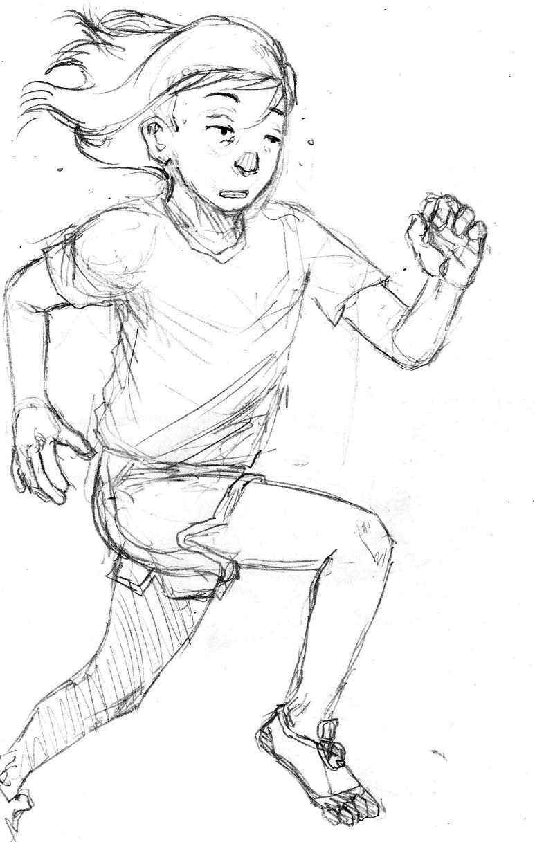 Running Girl Illust of Hard-Jaw pencil girl rough illustration running