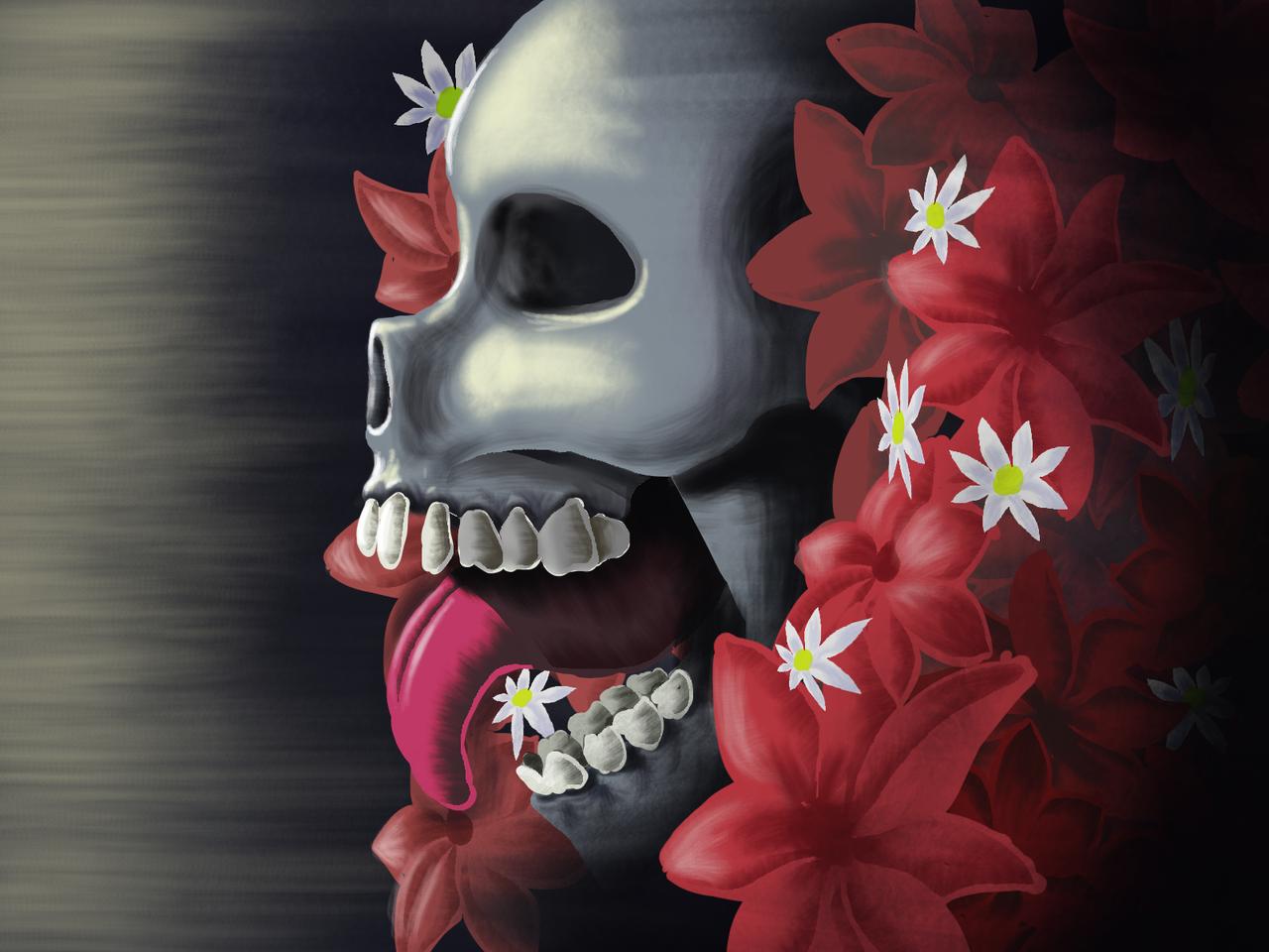 Death and Rebirth Illust of schizardthewizard death dark skull flowers macabre