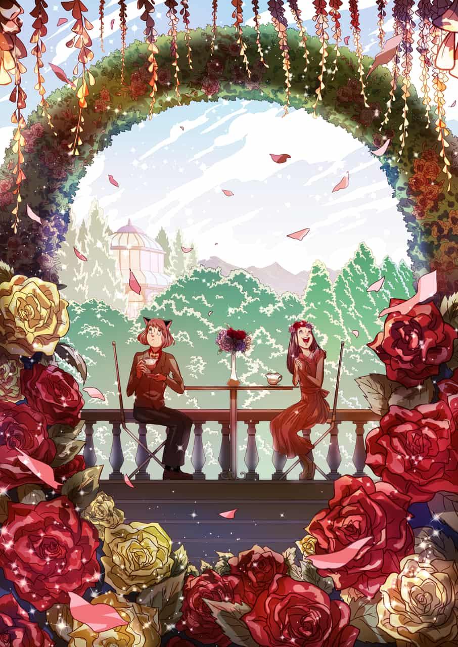 Arcy's Garden Illust of Fruschia Feb2020:VDAY anthro couple Valentine flower garden