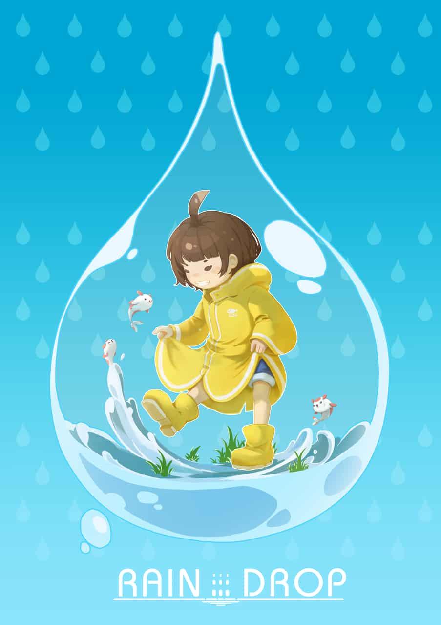 Rain Drop Illust of 抽子 rain girl illustration