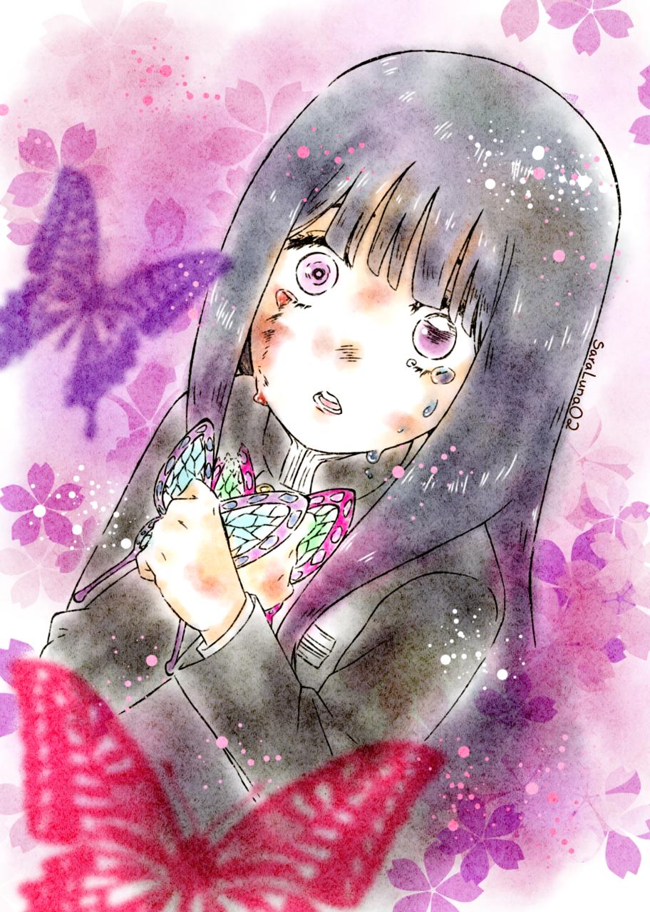 Tsuyuri Kanao Illust of SaraLuna02 DemonSlayerFanartContest anime fanart kanao KimetsunoYaiba butterfly art TsuyuriKanao flower