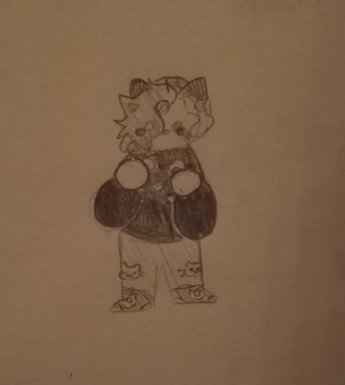 She Illust of Skye Finch (•♬• sᴏᴄᴋ-ʙᴀɪᴛ™ •♬•) chibi Emberblazedraws cat Smol adorable cute girl baby catgirl traditional
