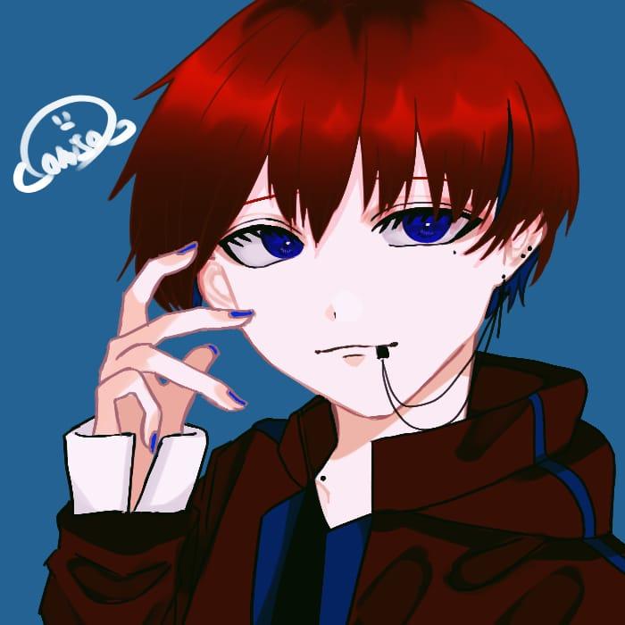 けばぁぁぁぁぁ!!!! Illust of おみそ#田舎同盟 illustration blue おみそのお絵かき広場 red boy CLIPSTUDIOPAINT おみその毎日投稿 icon oc
