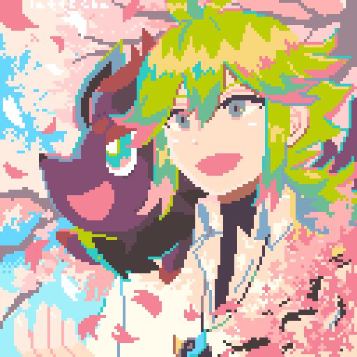 きせつの かんらんしゃ(春) Illust of ラテ茶 pixelart sakura N(ポケモン) N pokemon ゾロア