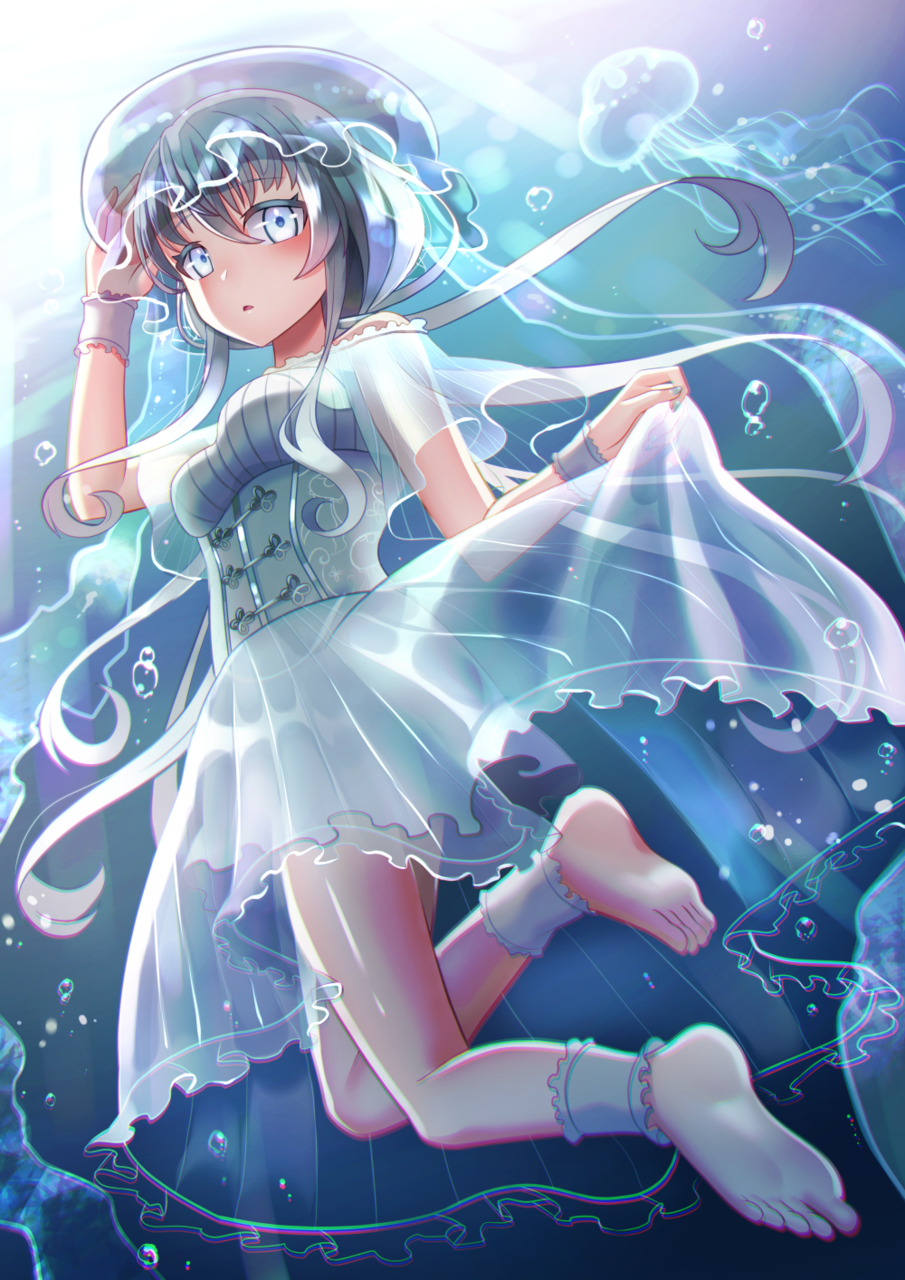 jelly girl Illust of 夜和 June2021_Anthropomorphism blue Personification jellyfish original girl コルセット underwater
