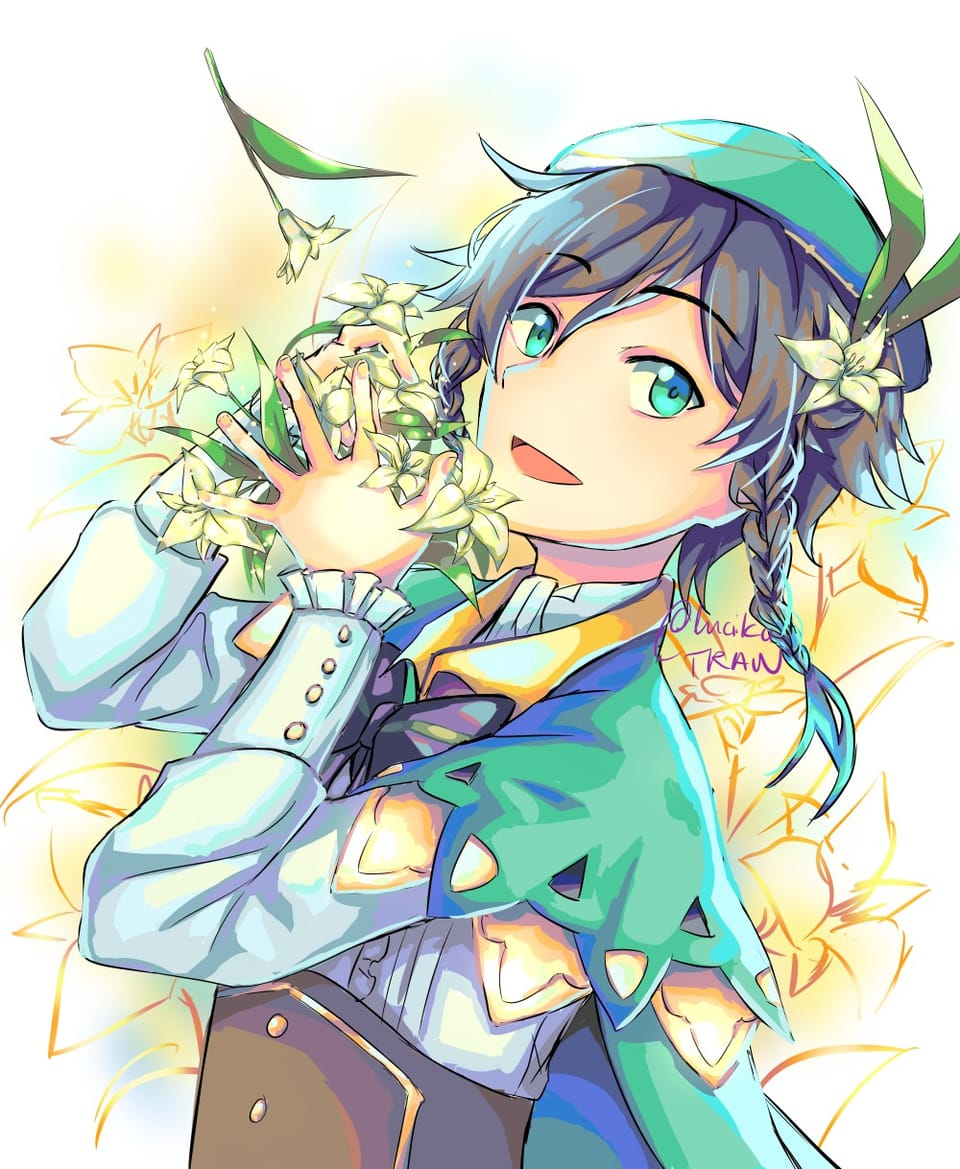 Venti - Genshin Impact Illust of lucika flower illustration venti blackhair anime genshinimpactfanart GenshinImpact