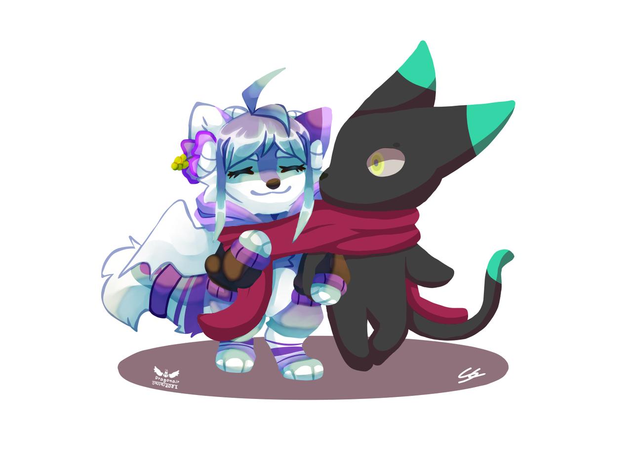 Collab with  Smoking Cat Illust of Kdragonair medibangpaint cat collab wolf