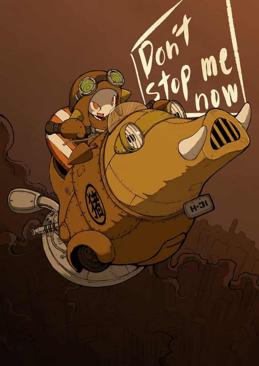 Don't stop me now Illust of ウスイソト ここりこ 年賀状 亥年 steampunk