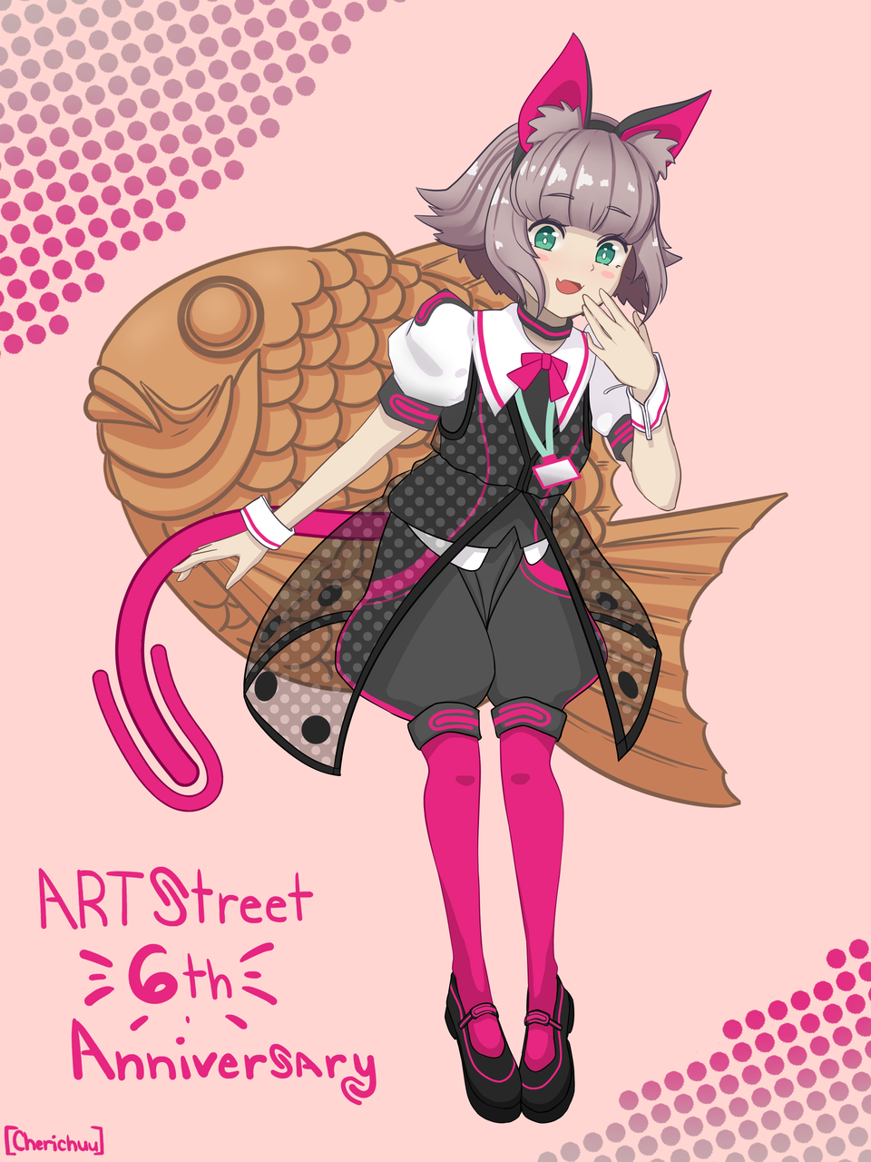 Meimi-chan Illust of Cherichuu General_Election_Meimichan MediBang_General_Election medibangpaint tail taiyaki pink